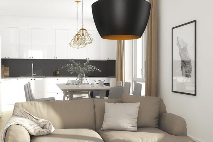Visualisering av inredning i en lägenhet i U25.