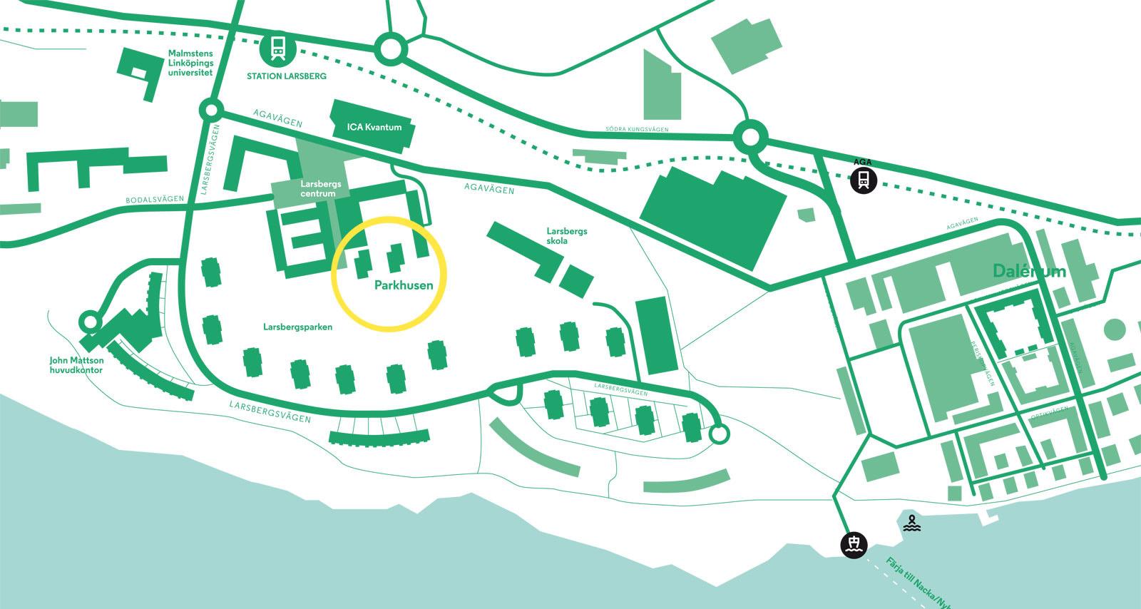 Grafisk karta över Larsberg på Lidingö med John Mattsons parkhus inringade.