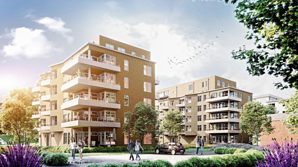 Visualisering över Parkhusen i Larsberg på Lidingö.