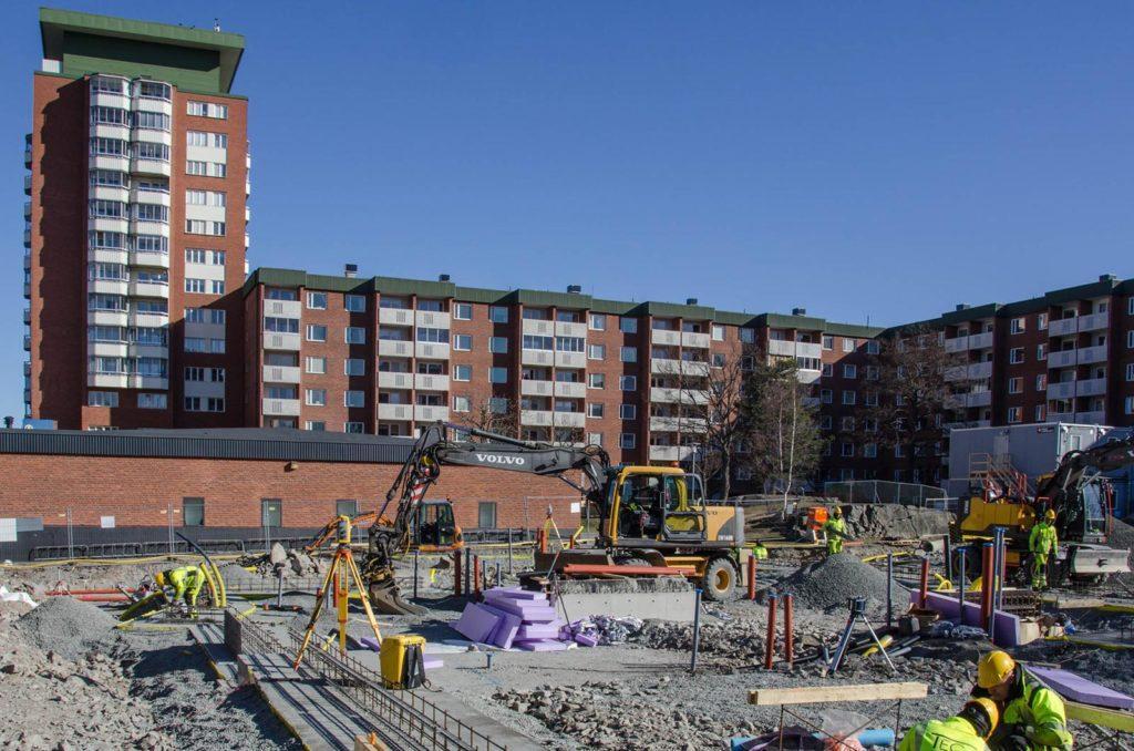 Bygge av Parkhusen i Larsberg