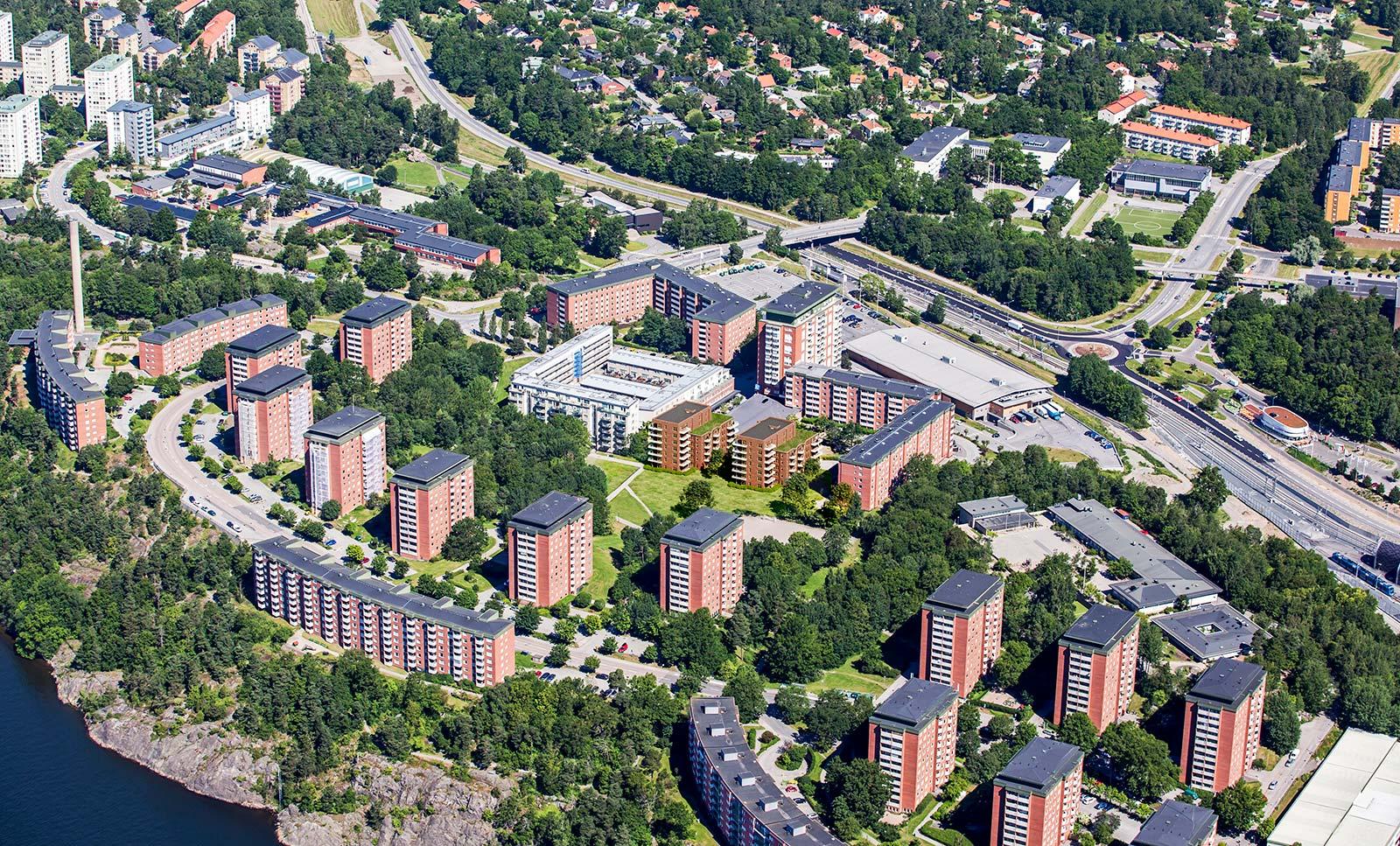 Flygbild över Parkhusen