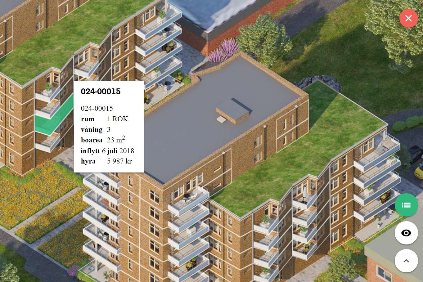 Parkhusens interaktiva lägenhetsväljare