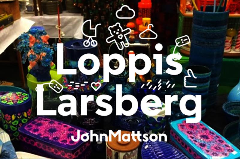 Logotyp för John Mattsons loppmarknad i Larsberg våren 2018