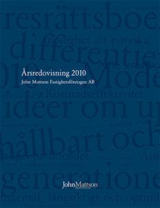 Omslag till John Mattsons årsredovisning för 2010.