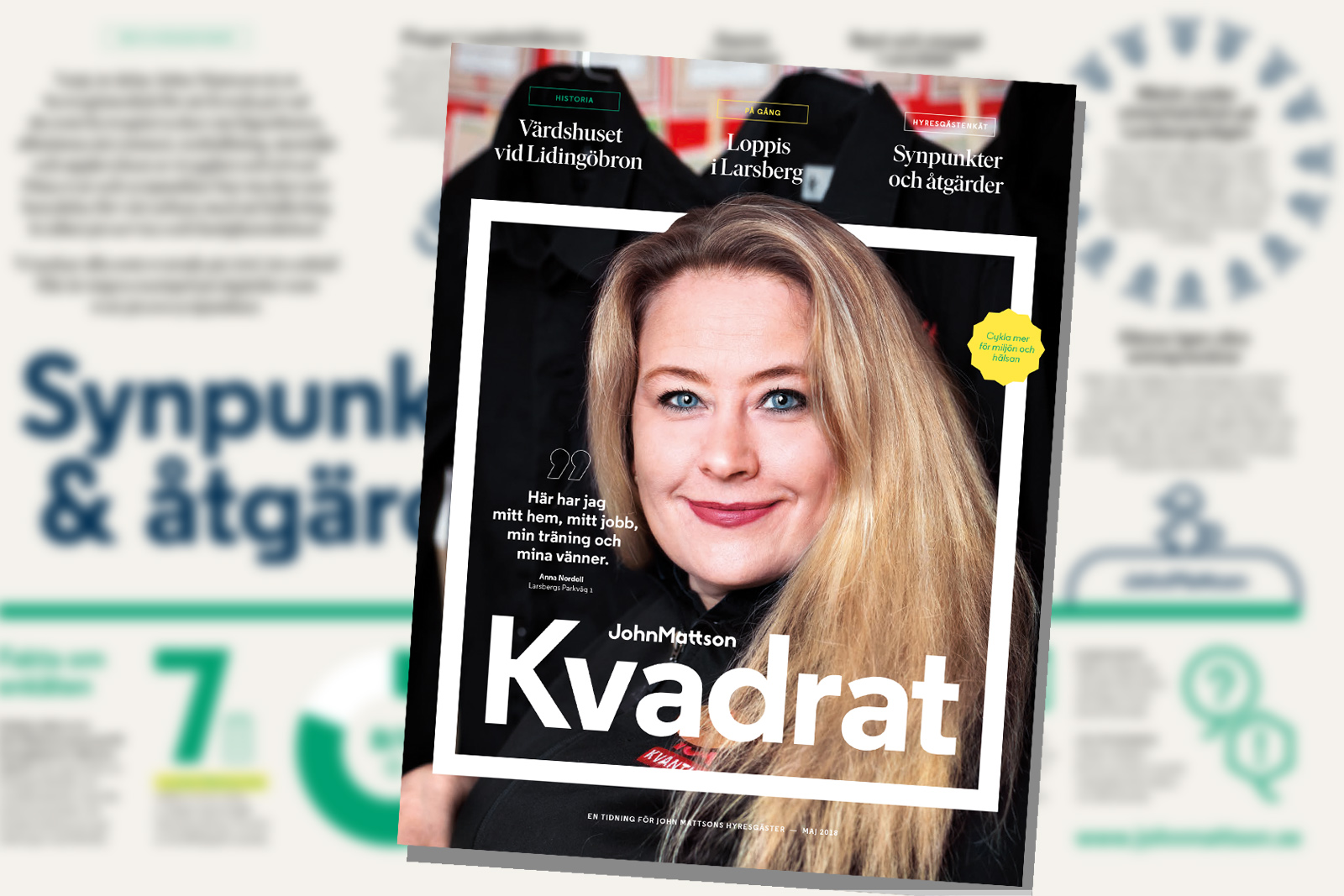 Omslaget till John Mattsons kundtidning Kvadrat, nummer 1 år 2018.
