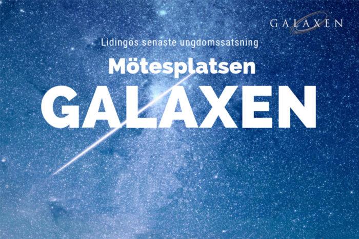 Logotyp för ungdomsverksamheten Galaxen i Larsberg på Lidingö.