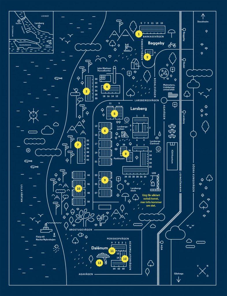 Grafisk karta med John Mattsons konstverk utsatta.