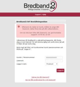 Bild av en dialogruta som visas när användaren försöker starta sin anslutning till Bredband2 men fortfarande är uppkopplad mot Com Hem. Visas den här röda rutan så är du fortfarande ansluten till internet från Com Hem. Anslutningen måste avaktiveras så att datorn/enheten du använder hittar internetanslutningen från Bredband2. Stäng av din anslutning från Com Hem, öppna webbläsaren på nytt och prova att logga in igen. (Klicka på bilden för att göra den större)