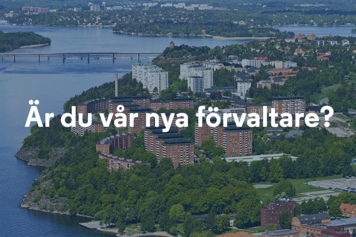 """Flygbild över Larsberg på Lidingö med texten """"Är du vår nya förvaltare?"""""""