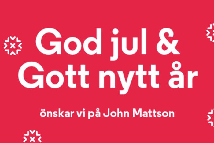 Texten God jul och gott nytt år önskar John Mattson, på röd bakgrund