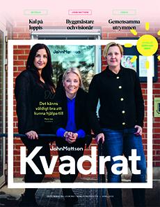 Tidningsomslag till John Mattsons kundtidning Kvadrat. Tre kvinnor poserar framför tegelfasaden till John Mattsons kontor.