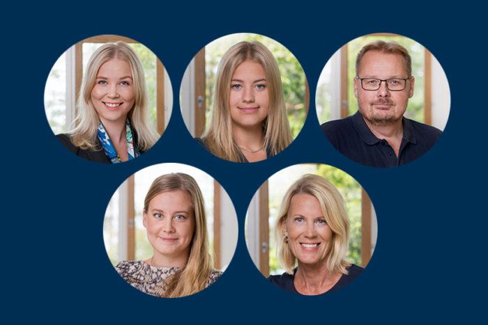 Porträtt av fem nyanställda medarbetare på John Mattson.