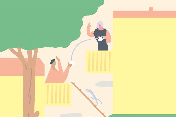 Illustration föreställandes två grannar som pratar med varandra från varsin balkong.