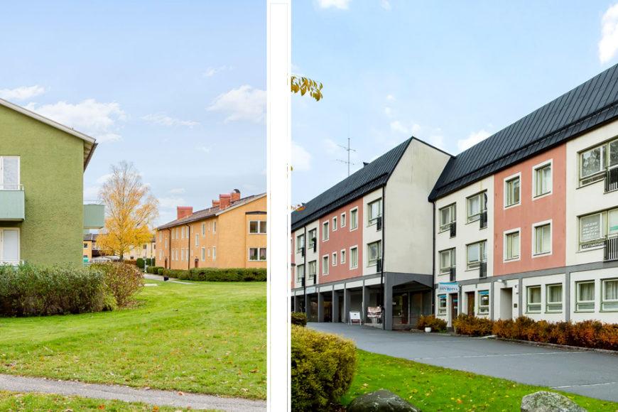 Montage med bilder av husfasader och gröna gräsmattor.