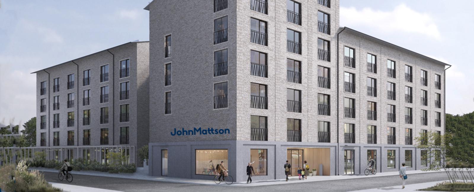 Illustration av John Mattsons kommande flerbostadshus i tegel.